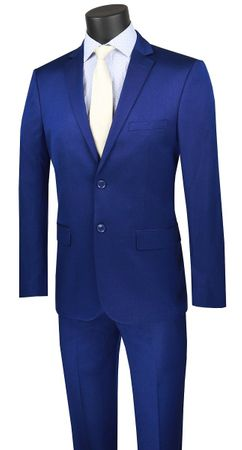 Men's French Blue Fitted Suit Extra Slim Vinci US2R-2 - click to enlarge