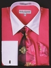 Men's Fuchsia White Collar French Cuff Dress Shirt Tie Set DS3006WTPRT