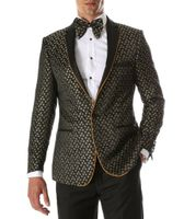 Men's Gold Black Fitted Performer Tuxedo Jacket Ferrecci Pronto