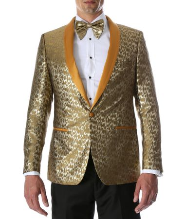 Men's Gold Fancy Fitted Entertainer Tuxedo Jacket Ferrecci Webber