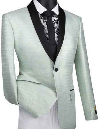 Mens Aqua Slim Fit Metallic Stripe Prom Jacket Vinci BSF-12