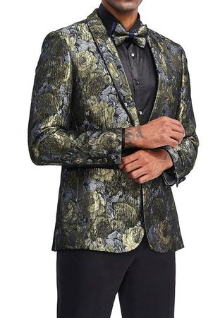 Men's Gold Slim Fit Floral Prom Jacket Matching Bow Tie Tazio MJ339S-1