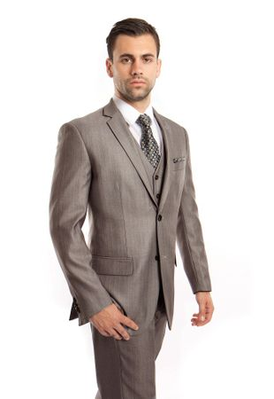 Men's Gray 3 Piece Italian Style Suit Textured Solid Tazio M158-01