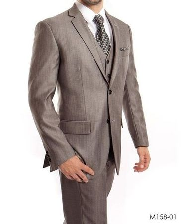 Men's Gray 3 Piece Modern Fit Suit Textured Solid Tazio M158-01