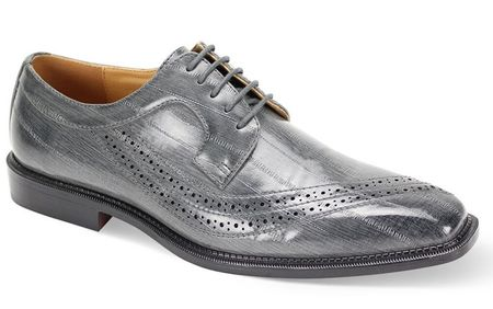 Men's Gray Eel Print Italian Style Dress Shoes Antonio Cerrelli 6780