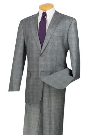 Plaid Suit for Men Gray Regular Fit Flat Front Pants Vinci 2RW-1