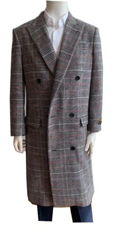 Men's Gray Plaid Double Breasted Wool Overcoat Alberto DB-COAT IS - click to enlarge