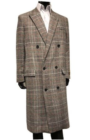 Men's Gray Plaid Double Breasted Wool Overcoat Alberto DB-COAT IS