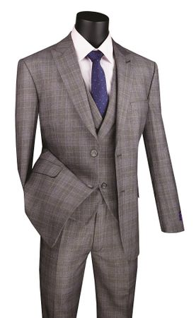 Men's Gray Plaid Modern Fit 3 Piece Fashion Suit Vinci MV2W-1