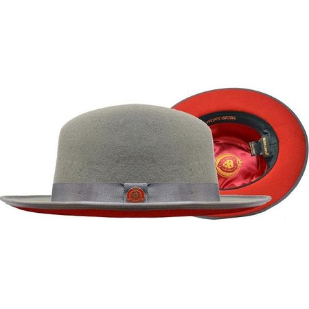 Men's Gray Red Bottom Hat Wide Brim Wool Urban Bruno PR-304