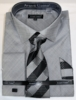 Men's Gray Sharkskin French Cuff Dress Shirt Tie Combo DN82