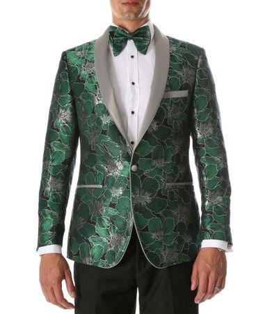 Men's Green Floral Fitted Prom Tuxedo Blazer Ferrecci Hugo - click to enlarge