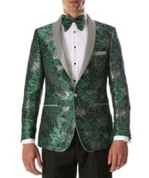 Men's Green Floral Fitted Prom Tuxedo Blazer Ferrecci Hugo