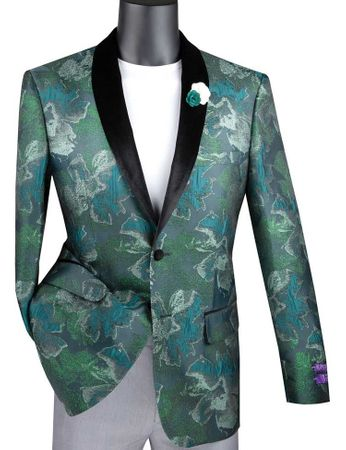 Men's Green Floral Tuxedo Jacket Prom Round Collar Vinci BSF-11