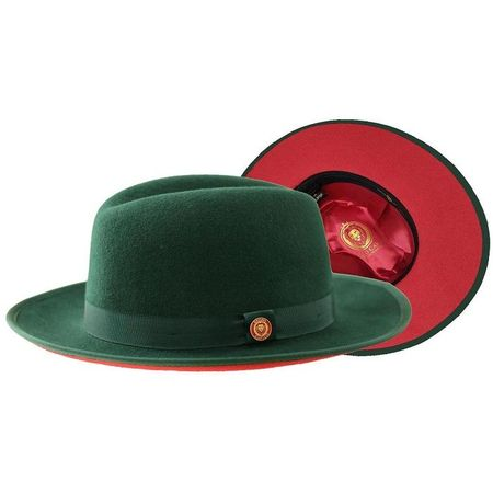 Men's Green Red Bottom Hat Wide Brim Wool Urban Bruno PR-303