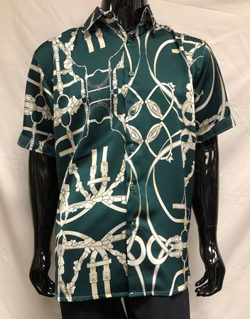 Men's Green Strap Print Short Sleeve Casual Shirt Pronti S6406 - click to enlarge