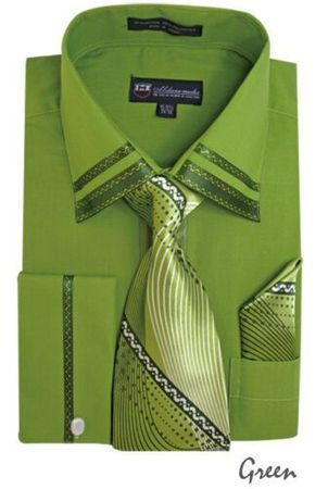 Men's Green Trim Collar Dress Shirt Matching Tie Set SG28