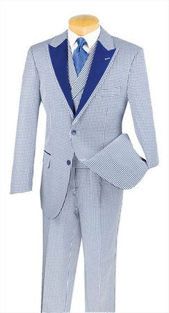 Men's High Fashion Suit by Vinci Blue Houndstooth 3 Piece 23HS-4 - click to enlarge