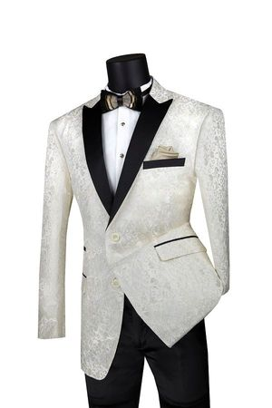 Men's Ivory Paisley Tuxedo Jacket Flashy Singer Black Lapels BF-2