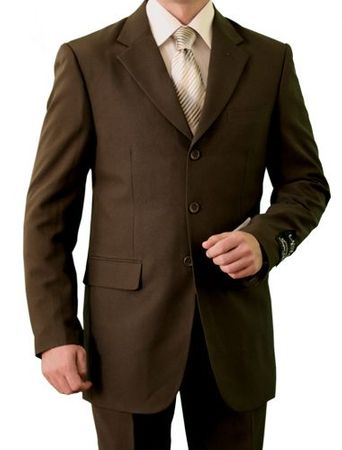 Mens Brown Big and Tall 3 Button Suit 3PP Size 60R, 62R Final Sale