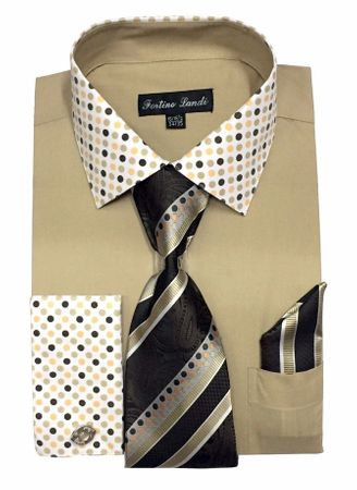 Men's Khaki Dot Collar Cuff Dress Shirt Tie Set Fortino FL630