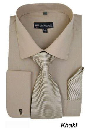 Men's Khaki French Cuff Dress Shirt Spread Collar Tie Set SG27