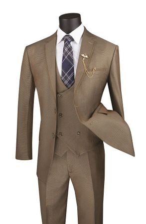 Men's Khaki Modern Fit 3 Piece Fashion Suit Vinci MV2B-1