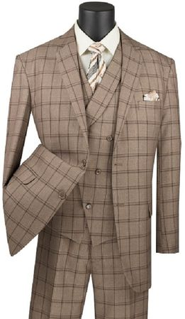 Men's Khaki Windowpane Plaid  3 Piece Suit Vinci V2RW-12