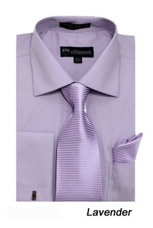 Men's Lavender French Cuff Dress Shirt Spread Collar Tie Set SG27