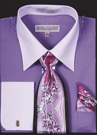 Men's Lavender White Collar French Cuff Dress Shirt Tie Set DS3006WTPRT - click to enlarge