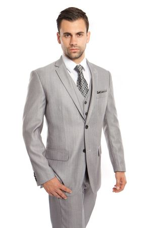 Men's Light Gray 3 Piece Italian Style Suit Textured Solid Tazio M158-05