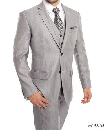 Men's Light Gray 3 Piece Modern Fit Suit Textured Solid Tazio M158-05