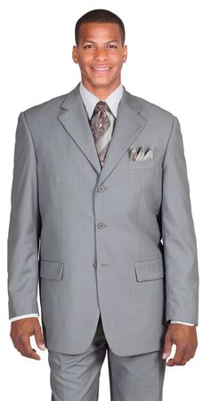 Men's Light Gray Classic 3 Button Wool Feel Business Suit Milano 5802M