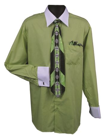 Men's Lime White Collar French Cuff Dress Shirt Tie Set DS3006WTPRT - click to enlarge