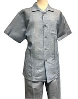 Men's Linen Leisure Suit Blue Heather Guayavera Outfit SP3351