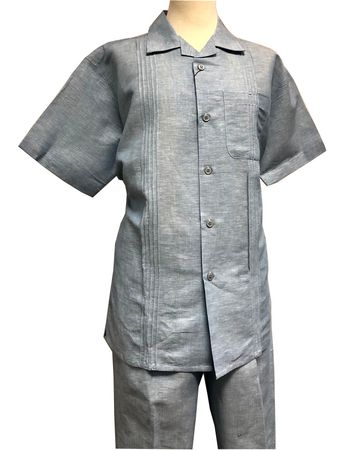 Men's Linen Leisure Suit Blue Heather Guayavera Outfit SP3351 Size XL/40 - click to enlarge