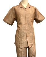 Men's Linen Leisure Suit Light Brown Heather Guayavera Outfit SP3351