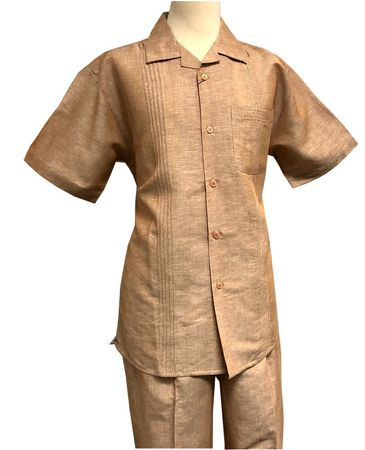 Men's Linen Leisure Suit Light Brown Heather Guayavera Outfit SP3351 - click to enlarge