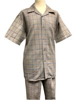 Men's Linen Leisure Suit Tan Square Plaid Casual Outfit Pronti SP6317