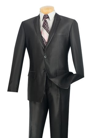 Men's Metallic Black Slim Fit Suit Tapered Leg Vinci S2RR-4