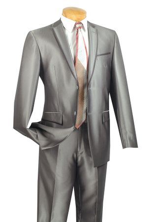 Men's Metallic Gray Slim Fit Style Suit Tapered Pants Leg Vinci S2RR-4 - click to enlarge