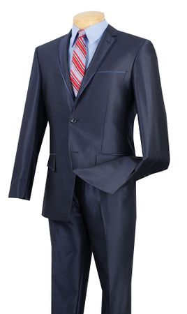 Men's Metallic Navy Slim Fit Tapered Style Suit Vinci S2RR-4
