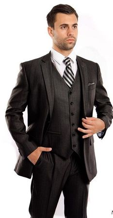 Men's Navy 3 Piece Italian Style Suit Textured Solid Tazio M158-03 - click to enlarge