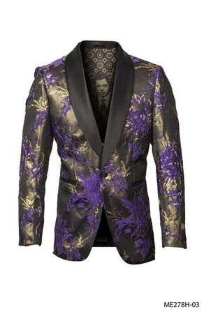 Men's Purple Floral Paisley 1 Button Jacket Empire ME278H-03