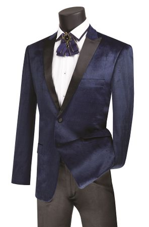 Men's Slim Fit Navy Plaid Velvet Tuxedo Blazer Vinci BS-14 - click to enlarge