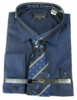 Men's Navy Sharkskin French Cuff Dress Shirt Tie Combo DN82