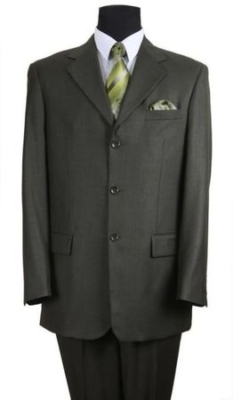 Men's Olive Classic 3 Button Wool Feel Business Suit Milano 5802M