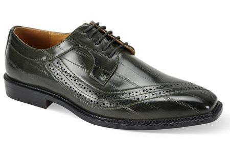 Men's Olive Eel Print Italian Style Dress Shoes Antonio Cerrelli 6780