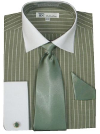 Men's Olive Stripe White Collar French Cuff Dress Shirt Tie Set SG17