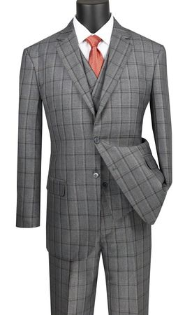 Men's 1920s Style Gray Windowpane 3 Piece Suit Slanted Vest Vinci V2RW-12